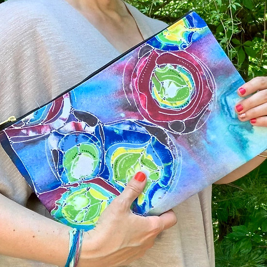 Abstract Pouch with Zipper - Colorful Circles Clutch - Cosmetic Bag