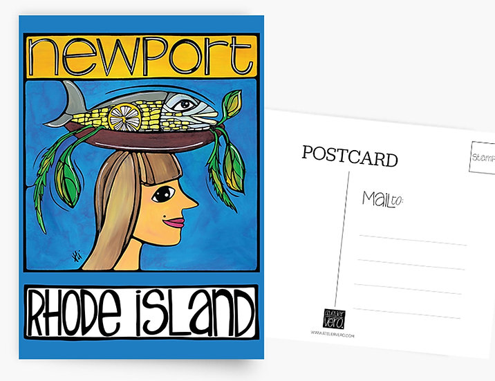 Rhode Island Postcard: Newport Lady with Fish Card by Artist Veronique Godbout