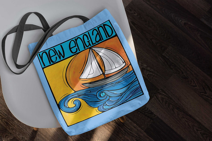 Sailboat Tote Bag | New England Accessories | Sailing Bag | Boat Lover Gift