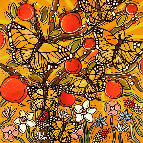 """Autumn Graceful Flight"" - 30"" x 30"" - Original Painting on Canvas"