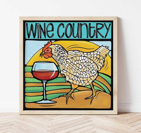 Wine Country Art Print. California Vineyard Signed Print.
