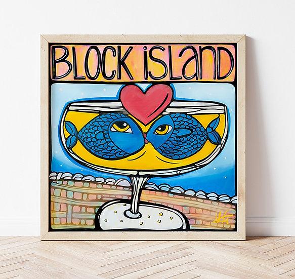 BLOCK ISLAND Signed Art Print: 2 Fish in Love Artwork, Rhode Island RI State