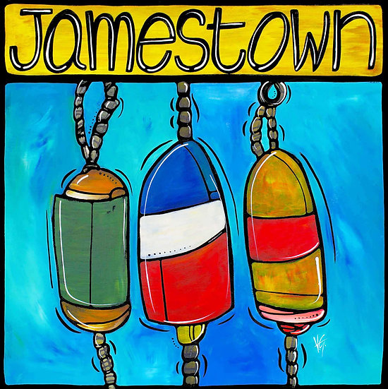 RHODE ISLAND Original Art: Jamestown Nautical Buoys by Artist Veronique Godbout