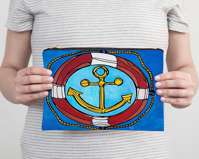 Nautical Accessory Pouch - Anchor Pencil Case - Vacation, Beach or Resort Clutch
