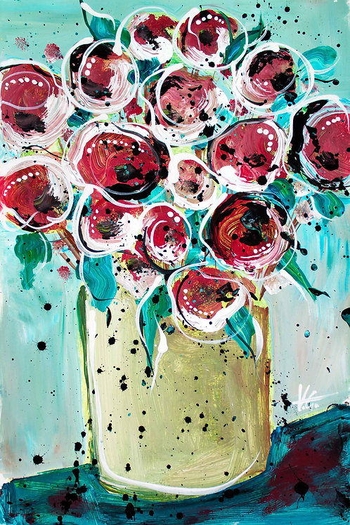 Original Floral Painting. Colorful Artwork of Rose Flowers, Botanical Art.
