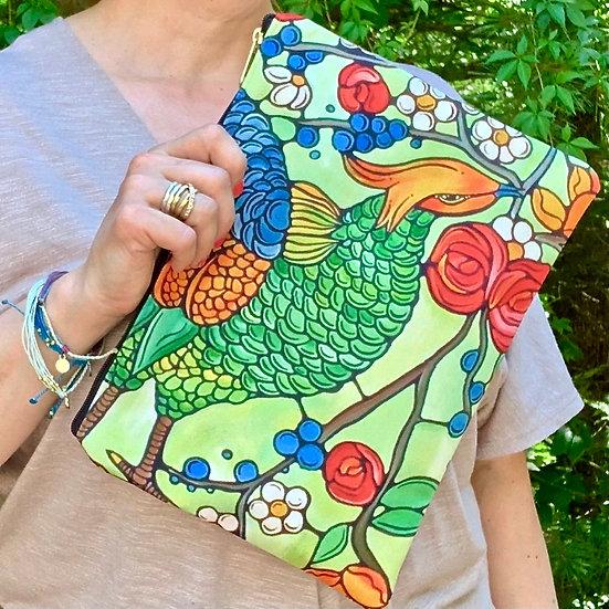 Bird Pouch with Zipper - Green Bird Clutch - Cosmetic Bag