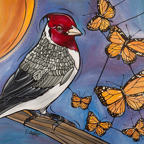 """""""Flying Monarch Dream"""" - 24 x 24"""" -  Original Painting on Canvas"""