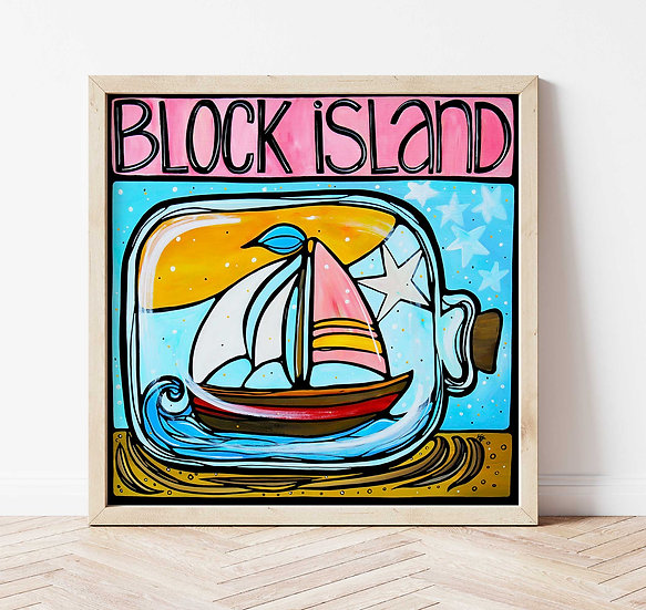 BLOCK ISLAND Signed Art Print: Ship in a bottle Artwork, Rhode Island RI State