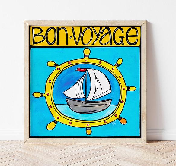 Nautical Art Print. Colorful Coastal Decor. SailBoat Lovers Gift. Whimsical.