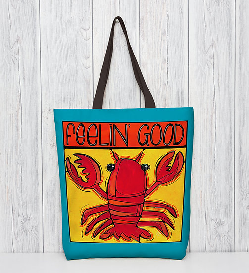 Lobster Tote Bag. Fun and Eco Friendly, Red Polyester Market Bag.