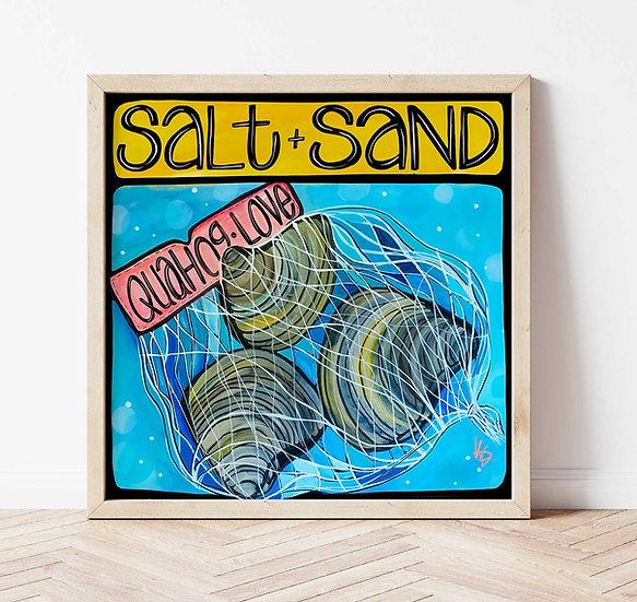 Quahog Clam Art Print, Signed Coastal Wall Artwork, Fun Quahog Clam Shell