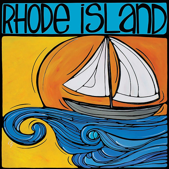 RHODE ISLAND Art Print: Sailing at Sunset by Artist Veronique Godbout