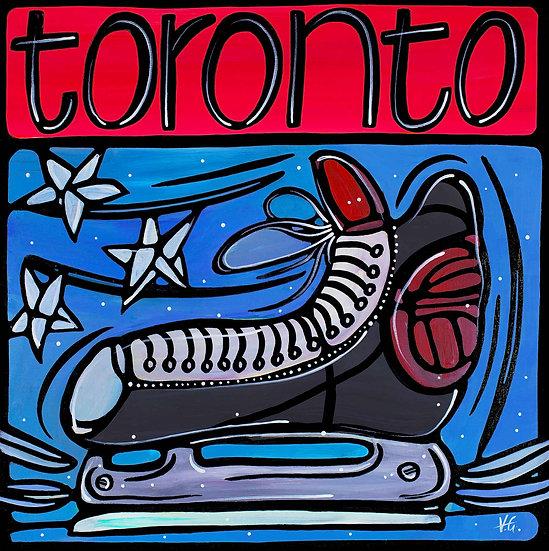 Canada Art Print; Toronto, Winter Sports Hockey Ice skate.