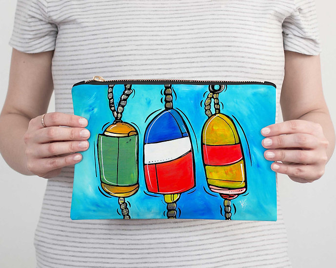 Nautical Accessory Pouch - Buoys Pencil Case - Vacation, Beach or Resort Clutch