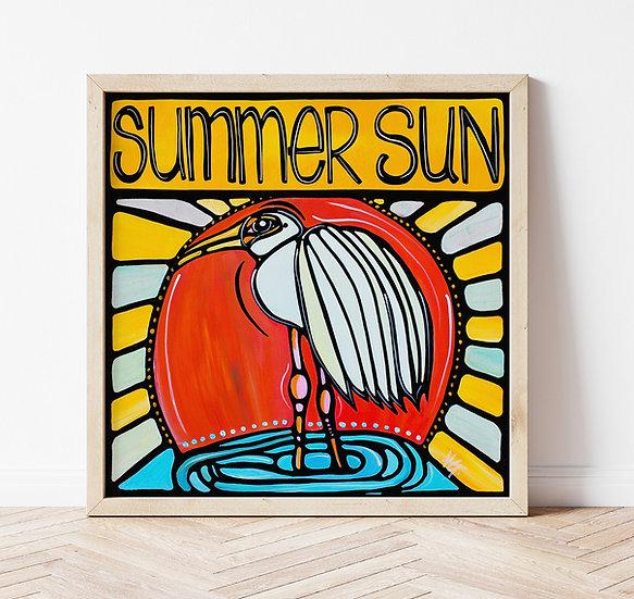 Bird Summer Art Print, Yellow Sun Art Print, Crane Heron Poster, Colorful Living