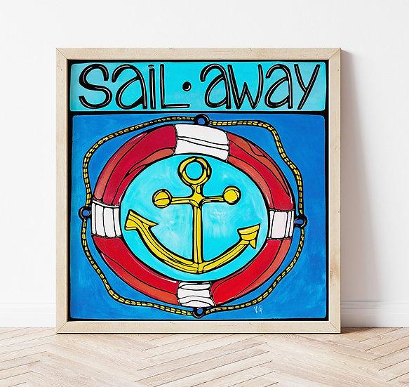 Nautical art print. Anchor wall art. Coastal Home Decor. Blue Maritime art.