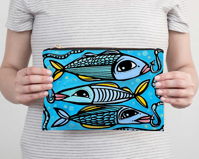 Fish Accessory Pouch - Coastal Pencil Case - Vacation, Beach or Resort Clutch