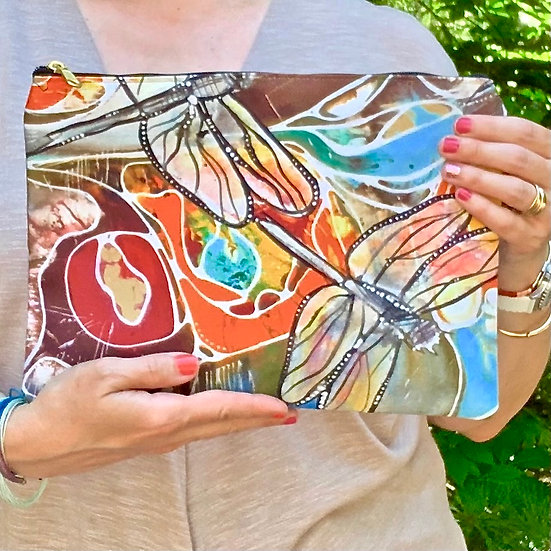 Dragonfly Pouch with Zipper - Dragonfly Clutch - Cosmetic Bag