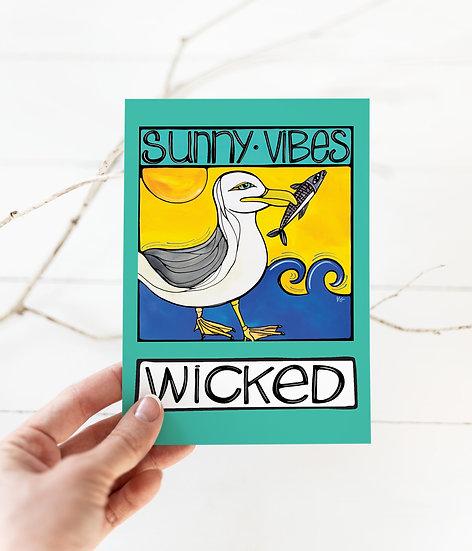Seagull Postcard: Wicked Beach Coastal Card, 5x7, Fun Seagull at the Beach