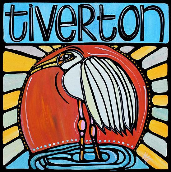 RHODE ISLAND Original ART: Tiverton, Crane bird at sunset