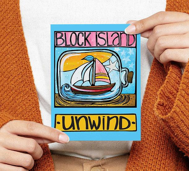 Block Island Postcard: Sailboat in Bottle Coastal Card, Rhode Island State, RI