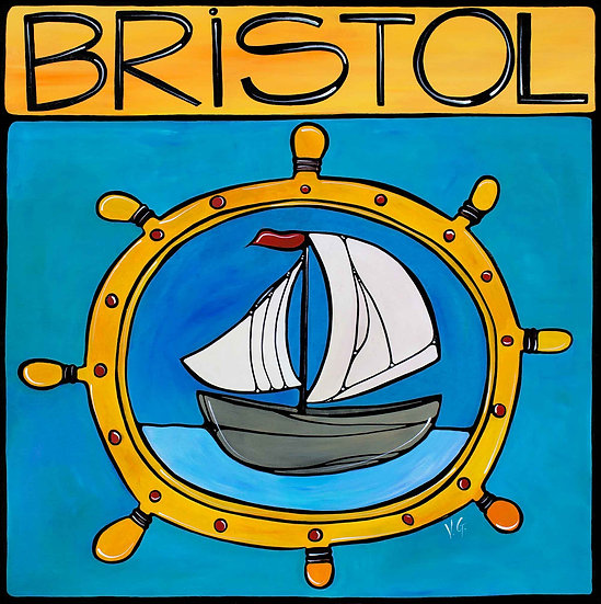RHODE ISLAND Original Art : Bristol Sailboat Ship Wheel by Artist V. Godbout