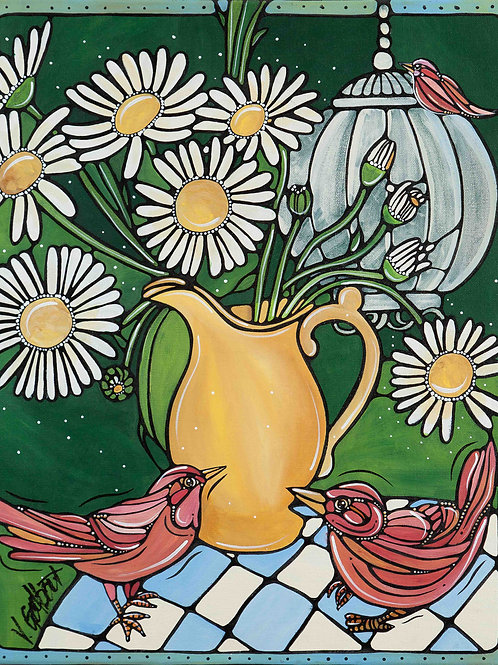 """Sweet Bunch of Daisies"" - 16 x 20"" - Original Painting on Canvas"