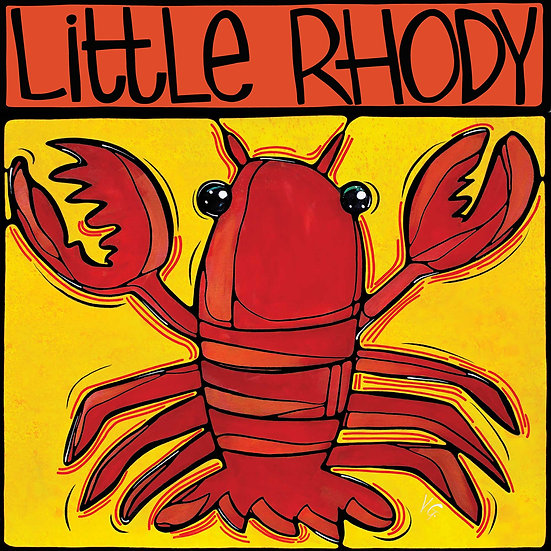 RHODE ISLAND Art Print: Fun Lobster by Artist V. Godbout, Lobstah, Beach Coastal