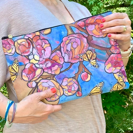 Pink Buds Pouch with Zipper - Floral Rose Clutch - Cosmetic Bag