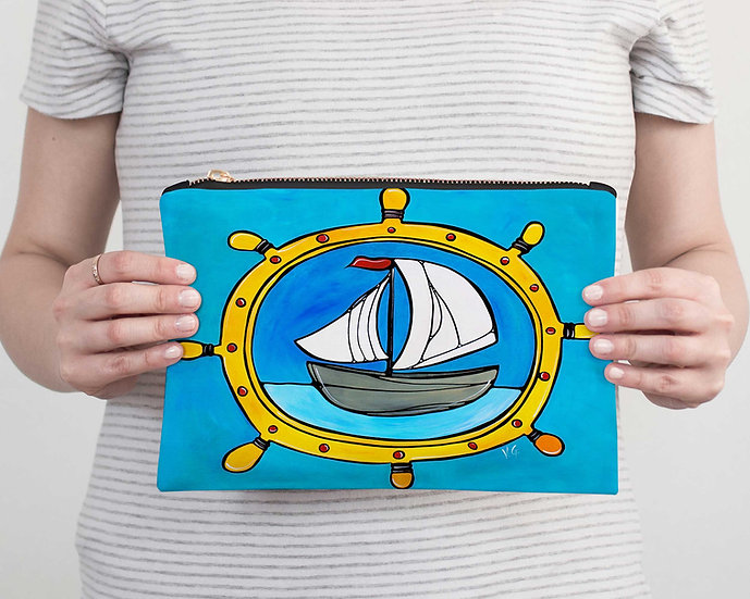 Nautical Accessory Pouch - Sailboat Pencil Case - Vacation or Beach Clutch