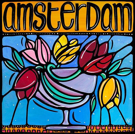 Europe Art Print; Amsterdam, Netherlands, Colorful Tulip flowers.