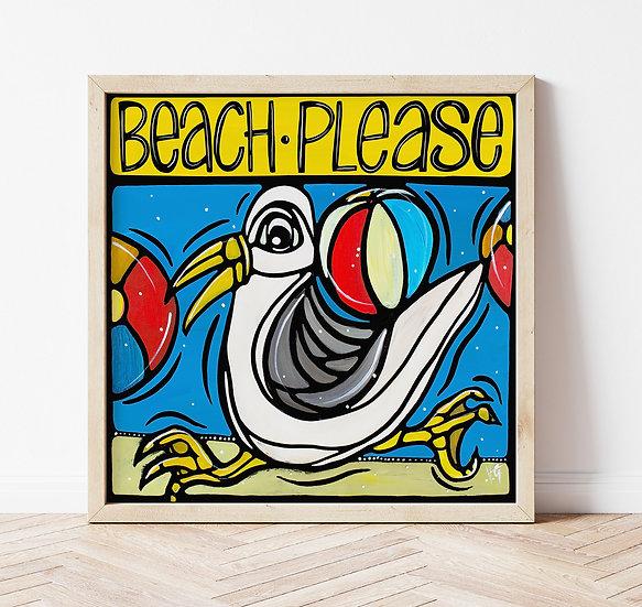 Beach Art Print. Colorful Coastal Decor. Seagull Artwork. Beach Please.