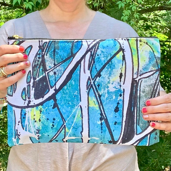 Abstract Pouch with Zipper - Blue and Black Clutch - Graphic Lines Cosmetic Bag