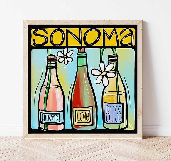 Sonoma County Art Print. California Wine Country Signed Art.