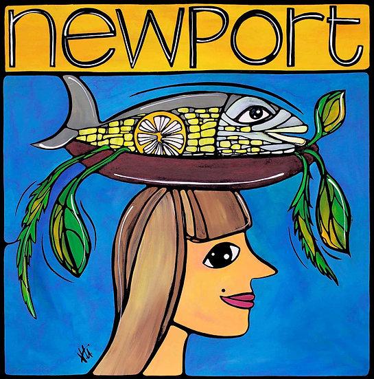 Rhode Island Art Print; Newport RI, Whimsical Lady with Fish.