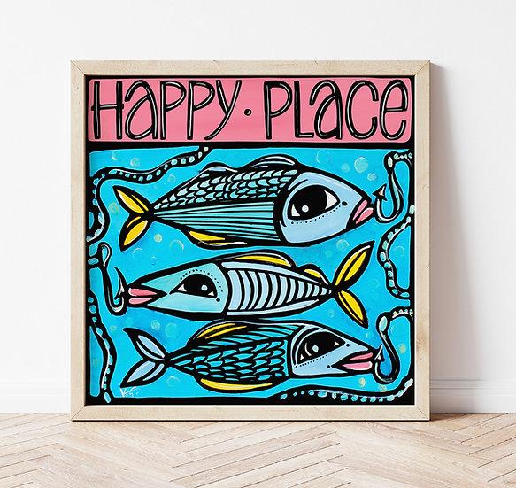 Fish Art Print. Fun Fishing Decor. Blue Coastal Artwork. Lake Beach House.