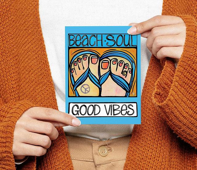 Beach Postcard: Sandals Coastal Card, 5x7, Fun Summer Flip Flop on the Beach