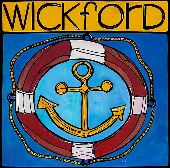 Rhode Island Art Print; Wickford RI, Nautical Anchor and Ship Wheel.