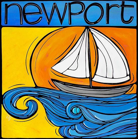 RHODE ISLAND Original Art: Newport Sailboat at Sea by Artist Veronique Godbout