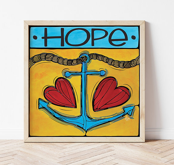 Anchor Art Print, Hope. Colorful Nautical Artwork, Anchor Love.