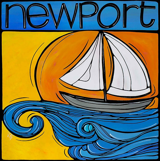 Rhode Island Art Print, Rhody Newport RI, Anchored at sunset.