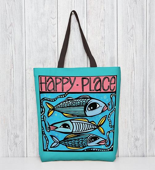 Fish Tote Bag   Leisure Hobo Bag for Shopping   Fun Coastal Accessories  
