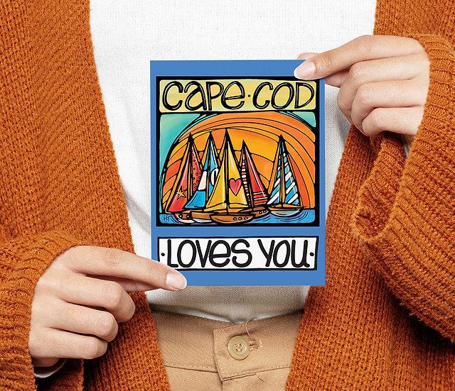 Cape Cod Postcard: Sailboat Coastal Card, 5x7, New England sunset Massachusetts