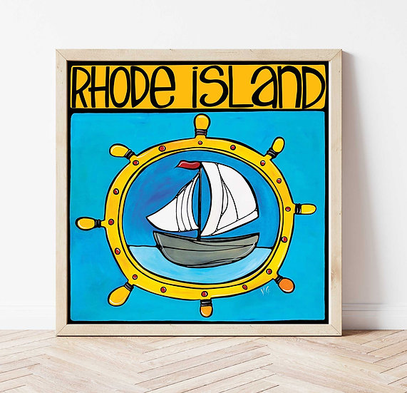 RHODE ISLAND Art Print: Sailboat by Artist V.Godbout