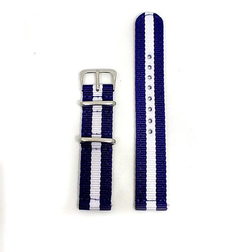 2 PC's Nylon Strap Dark Blue - White