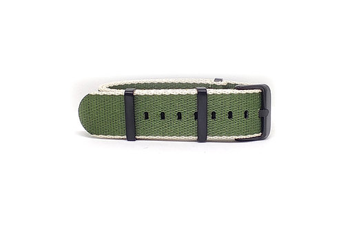 Seat Belt NATO Green - Cream