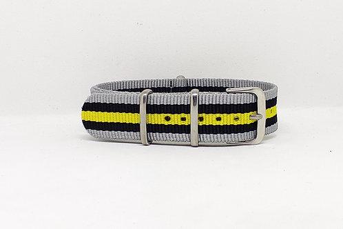 NATO Strap Grey-Black-Yellow