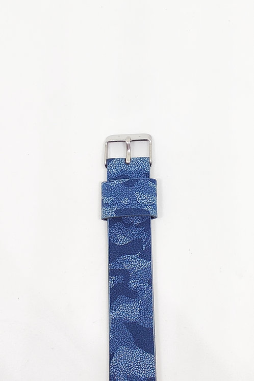 Blue Camouflage Leather Strap