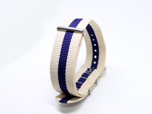 Nato Strap Cream-Dark Blue