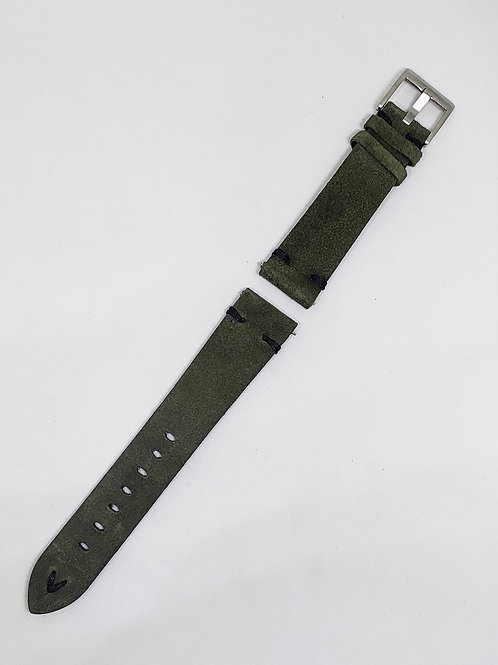 Suede Leather Strap Olive Green